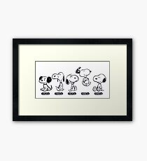 Snoopy through the ages, Peanuts  Framed Print