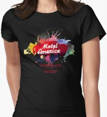 Motel America water colos splash Womens Fitted T-Shirt