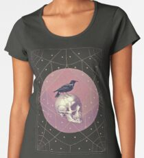 Crow and Skull Collage Women's Premium T-Shirt