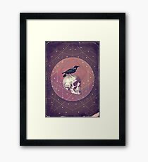 Crow and Skull Collage Framed Print