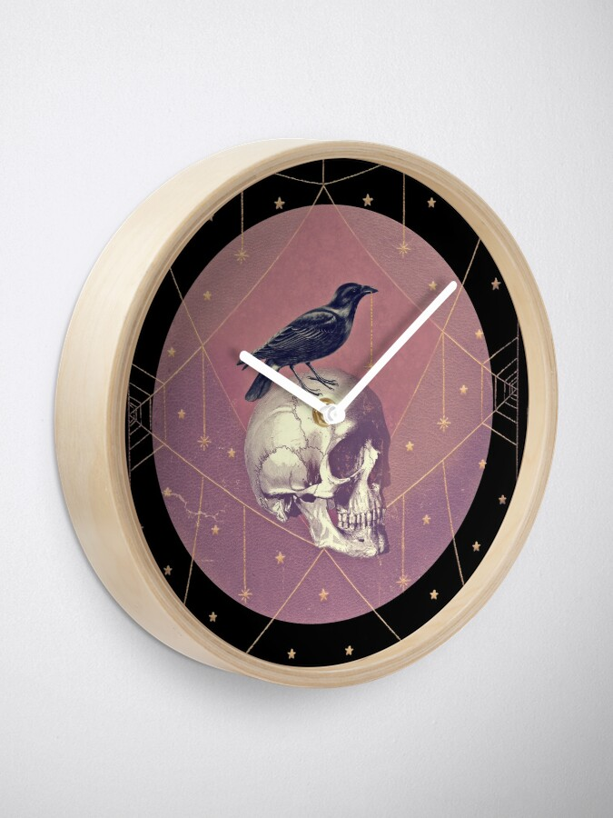 Alternate view of Crow and Skull Collage Clock