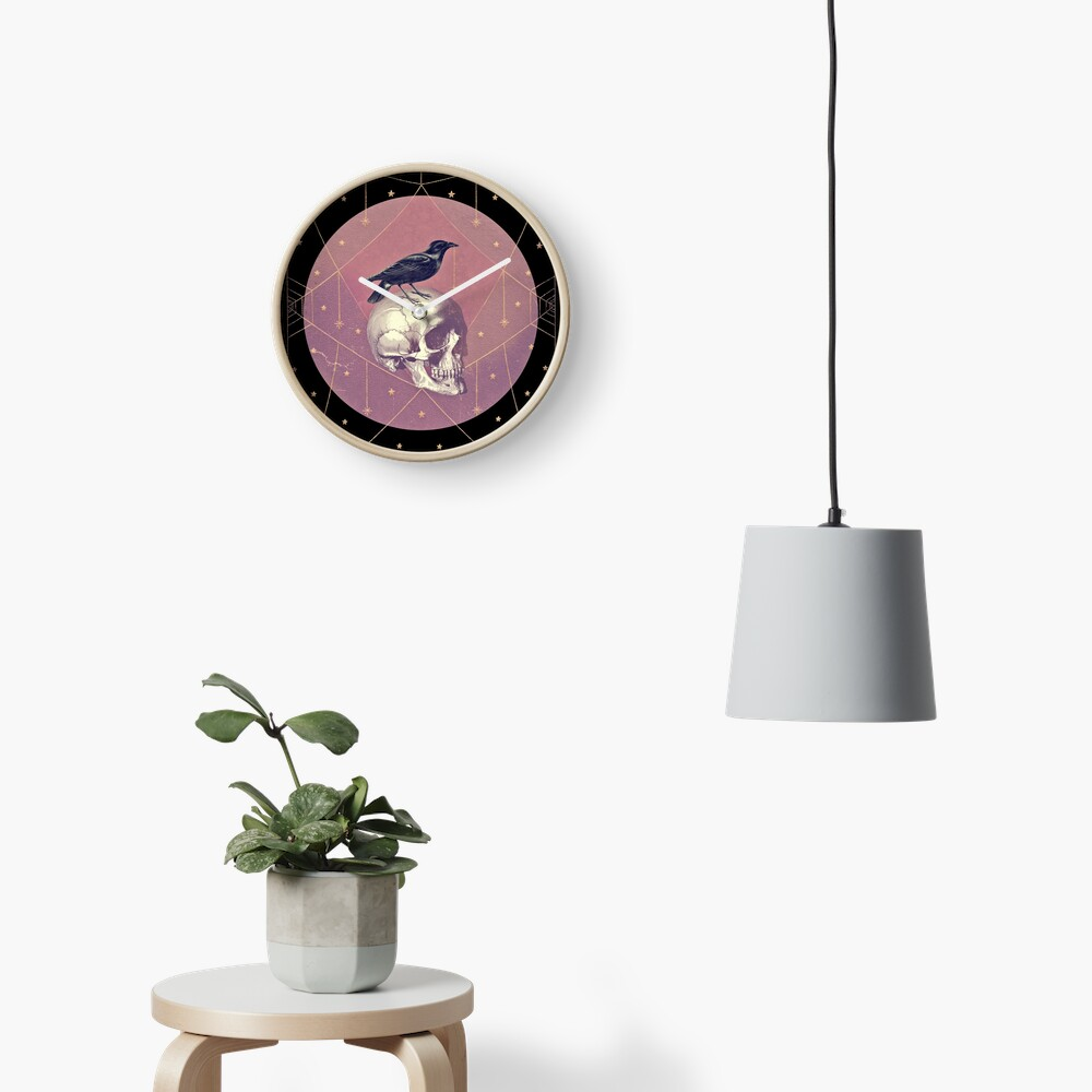 Crow and Skull Collage Clock