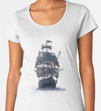 Ghost Pirate Ship at Night Women's Premium T-Shirt