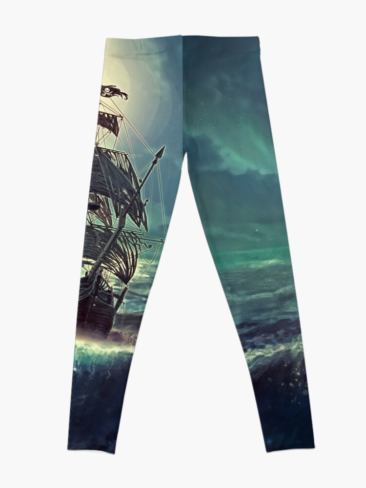 Vista alternativa de Leggings Ghost Pirate Ship at Night