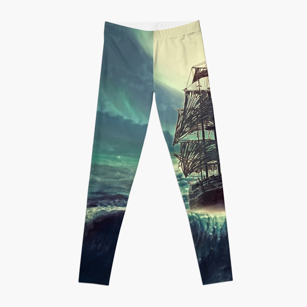 Ghost Pirate Ship at Night Leggings