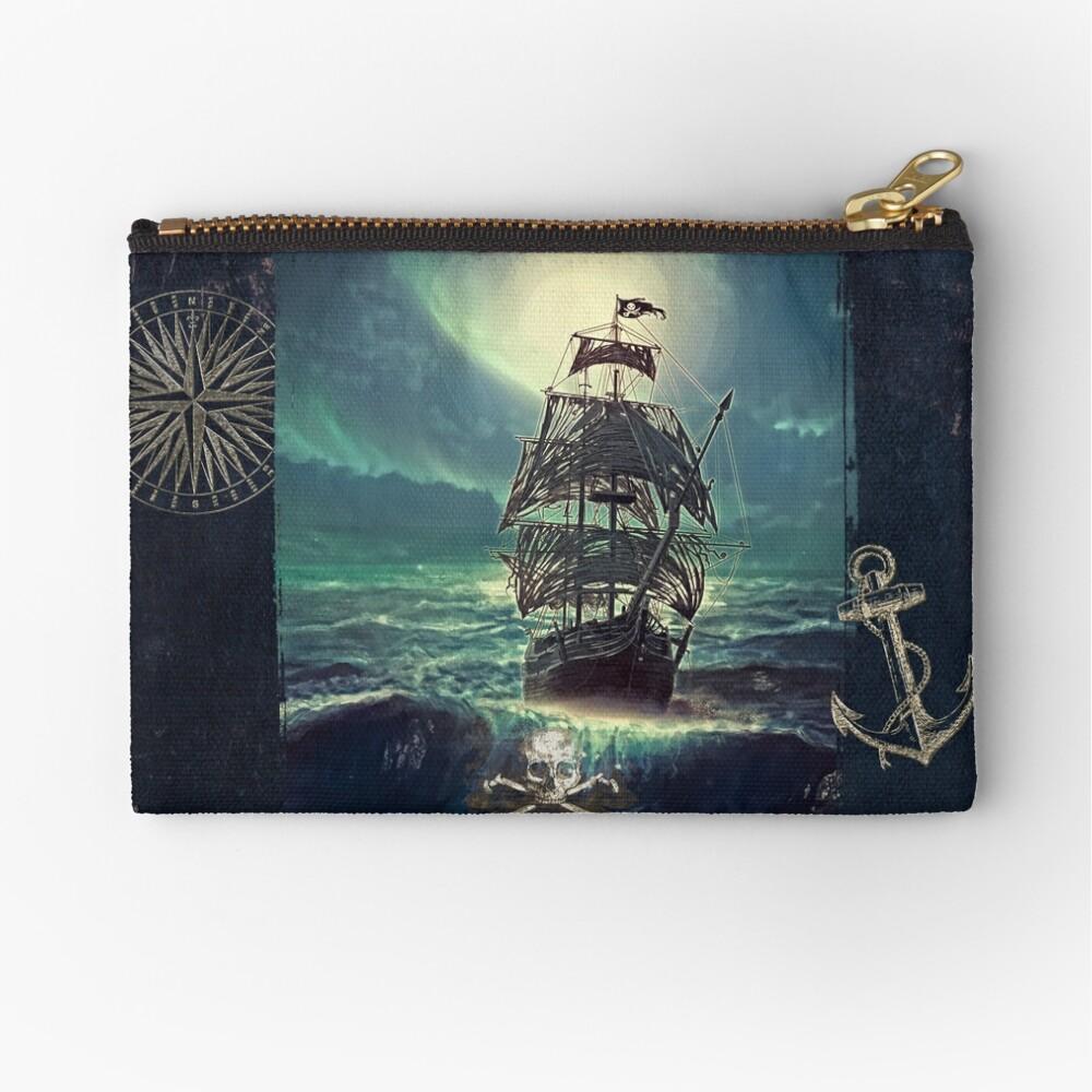 Ghost Pirate Ship at Night Bolsos de mano