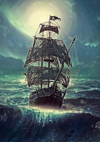 Geist Piratenschiff in der Nacht von Eva Nev