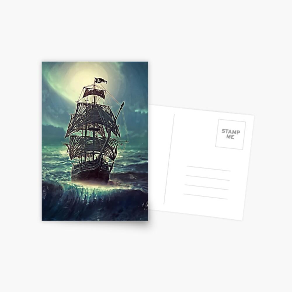 Ghost Pirate Ship at Night Postal