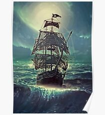 Ghost Pirate Ship at Night Poster