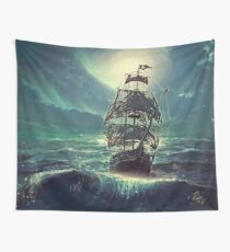 Ghost Pirate Ship at Night Wall Tapestry
