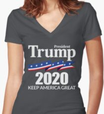 President Trump 2020 - Keep America Great Women's Fitted V-Neck T-Shirt