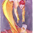 MerMay Goldfish Merman Rescuer Watercolor by SimplyKitt