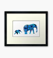 Inkblot Elephants Framed Print