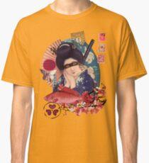 Collage Geisha Samurai in Coral, Indigo and Marsala Classic T-Shirt