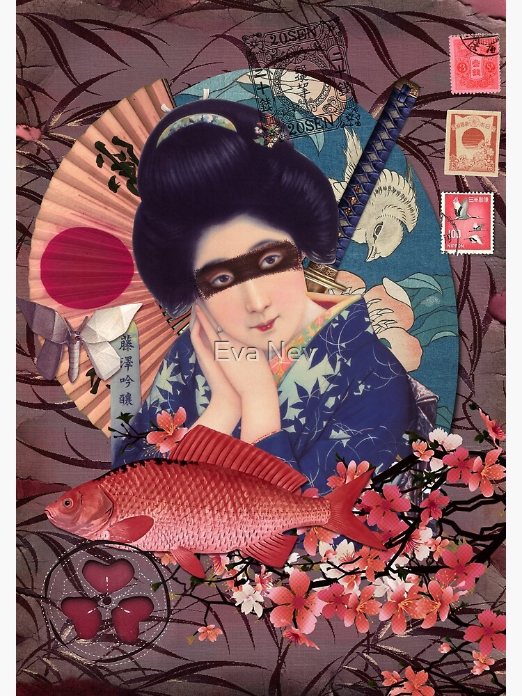 Collage Geisha Samurai in Coral, Indigo and Marsala de 3vaN