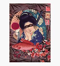 Collage Geisha Samurai in Coral, Indigo and Marsala Photographic Print