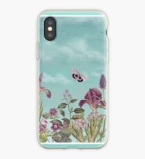 Mauve flowers on turquoise sky background iPhone Case