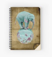 Mauve flowers on turquoise sky background Spiral Notebook