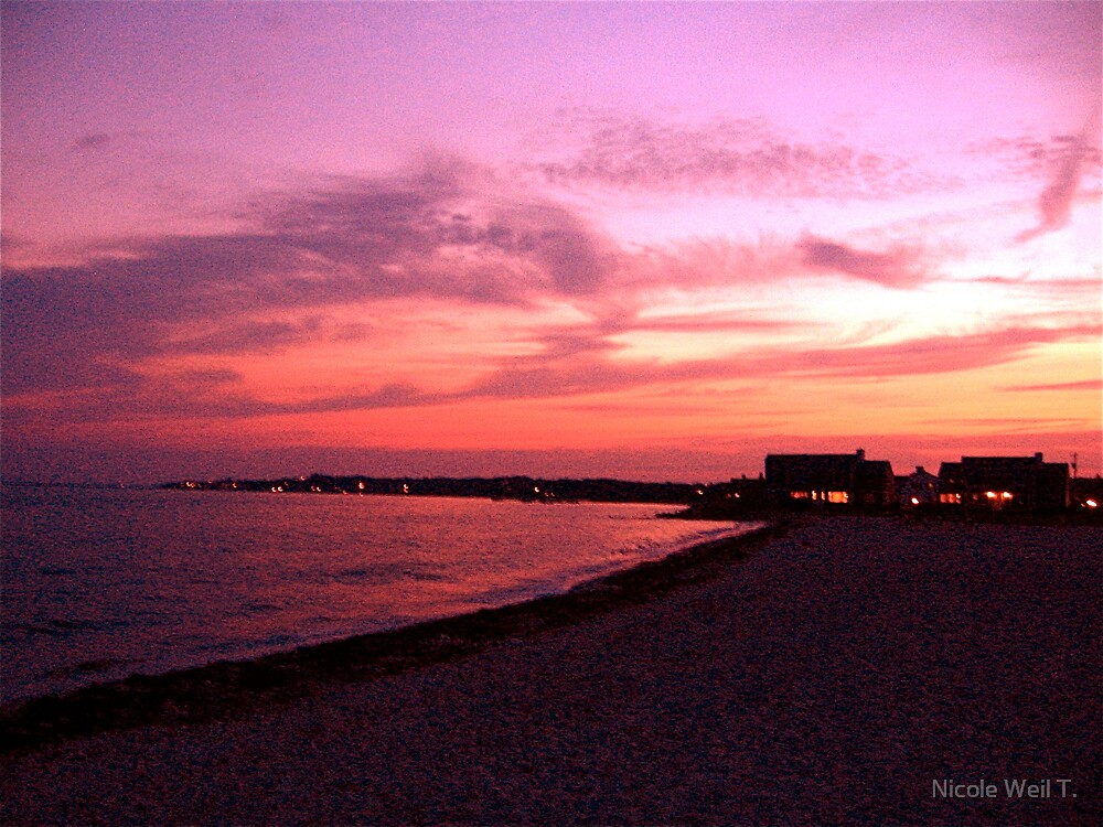 Calming Sunset On The Beach by Nicole Weil T.