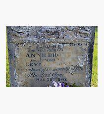 Anne Bronte Gravestone Photographic Print