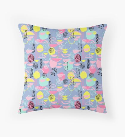 Abstract pattern nursery minimal pattern pink mint pastels and white abstract pattern design by CharlotteWinter Throw Pillow