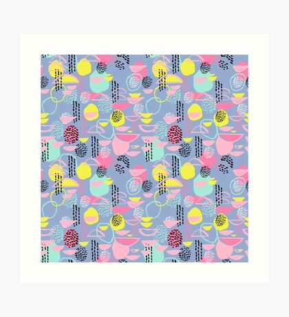 Abstract pattern nursery minimal pattern pink mint pastels and white abstract pattern design by CharlotteWinter Art Print