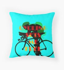 Blue Cycling Sets Me Free Throw Pillow
