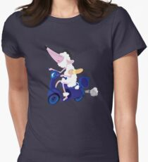 Le French poodle (de Moped Traveller with yummy Baguette) Womens Fitted T-Shirt
