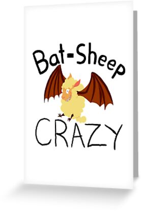 Bat sheep crazy greeting cards by shortformitchel redbubble bat sheep crazy by shortformitchel m4hsunfo