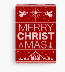 Ugly Christmas Sweater - Red - Merry Christ Mas - Religious Christian - Jesus Canvas Print