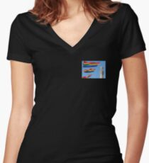 Pilgrim Monument with Gay Pride Flags Women's Fitted V-Neck T-Shirt