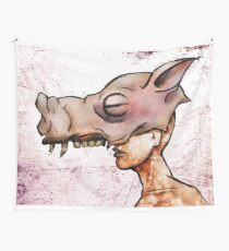 Pig Hat Purple Deteriorated Wall Tapestry