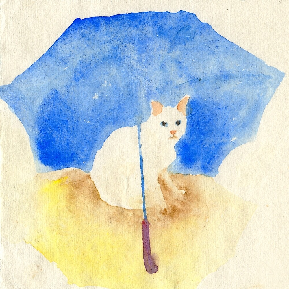 White cat under a blue umbrella by YumiKudo