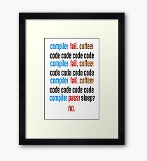 COMPILE FAIL COFFEE Framed Print