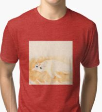 White cat lying on the floor Tri-blend T-Shirt