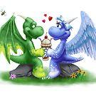 Lil Dragons Sharing a Float by piyastudios