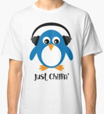 Penguin Just Chillin' with Headphones Classic T-Shirt