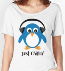 Penguin Just Chillin' with Headphones Women's Relaxed Fit T-Shirt