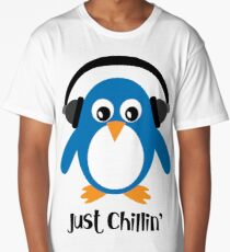 Penguin Just Chillin' with Headphones Long T-Shirt