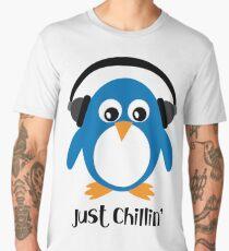 Penguin Just Chillin' with Headphones Men's Premium T-Shirt