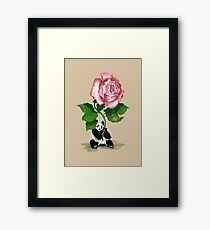 The Rose and The Panda Framed Print