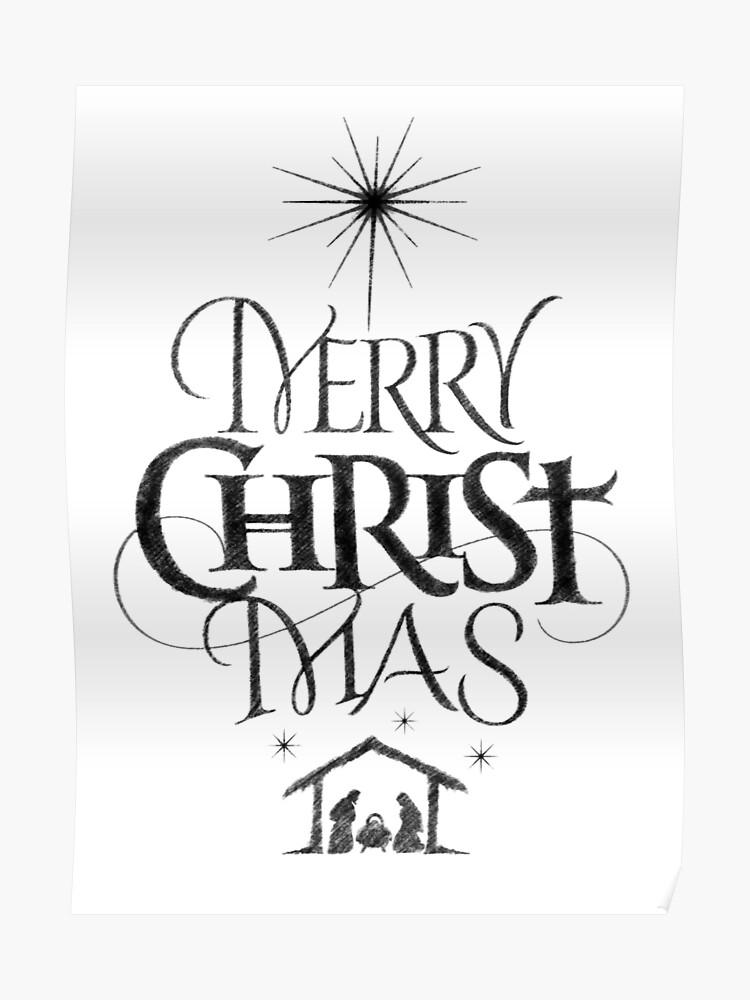 Merry Christmas Religious.Religious Christian Calligraphy Merry Christmas Christ Mas Sketched Jesus Nativity Poster
