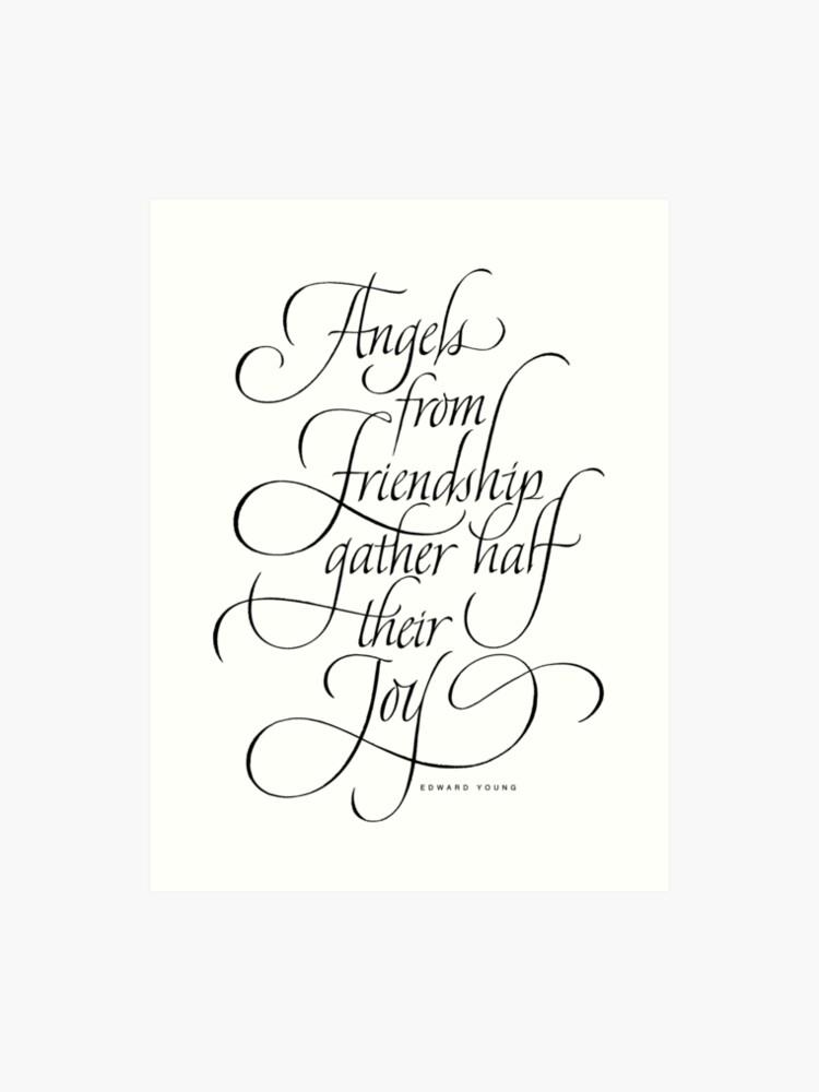 Christmas Lettering.Angels Friendship Elegant Classic Calligraphy Quote Christmas Lettering Art Print