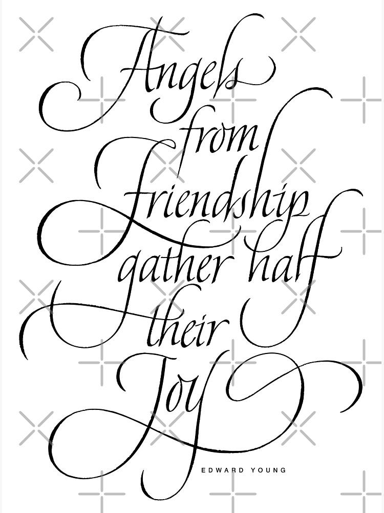angels friendship elegant classic calligraphy quote