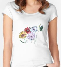 Flowers and Butterfly Women's Fitted Scoop T-Shirt