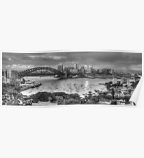 It's All Black and White - Sydney Harbour (20 Exposure HDR Panoramic) - The HDR Experience Poster