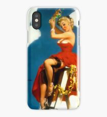 Christmas Mistletoe Gil Elvgren Pinup iPhone Case/Skin