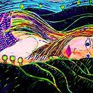"Girl In A Landscape 2-Linocut Print by Belinda ""BillyLee"" NYE (Printmaker)"