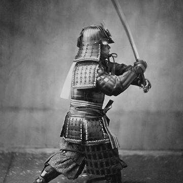 Samurai Brandishing His Sword - Japanese History by warishellstore
