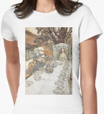 The Mad Hatters Tea Party by Arthur Rackham Womens Fitted T-Shirt